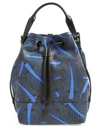 Opening Ceremony 'Izzy - Chard Print' Leather Backpack blue - Lyst