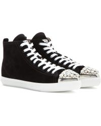 Miu Miu Embellished High-top Suede Sneakers - Lyst