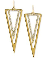 Steve Madden Goldtone Crystal Double Triangle Drop Earrings - Lyst