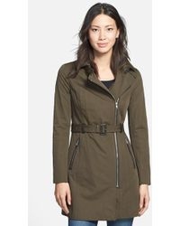 SOIA & KYO Asymmetrical Belted Trench Coat - Lyst