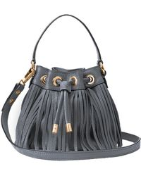 Milly Essex Fringe Small Drawstring gray - Lyst