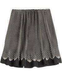 Anna Sui Polka Dot Silk Skirt black - Lyst