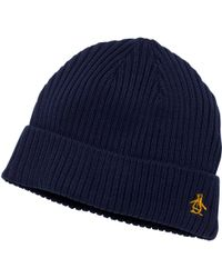 f2c15b68861 Original Penguin Merino Rib Beanie Hat in Blue for Men - Lyst