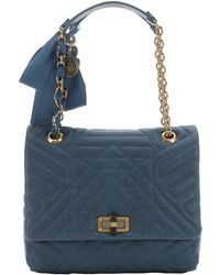 Lanvin Blue Quilted Leather 'Happy' Medium Shoulder Bag - Lyst