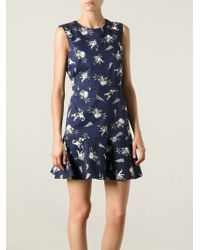 Markus Lupfer Catfight Printed Ruffle Dress - Lyst