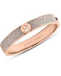 Michael Kors Fulton Rose Gold-tone and Glitz Bangle Bracelet - Lyst