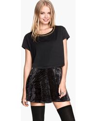 H&M Cropped Jersey Top - Lyst