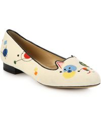 Charlotte Olympia Abstract Cat Embroidered Velvet Loafers white - Lyst