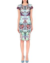 Mary Katrantzou Neoprene Floral Print Dress - Lyst