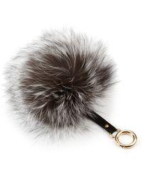 Adrienne Landau Fox Fur Pom-Pom Keychain gray - Lyst