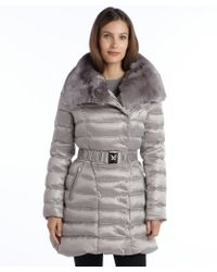 Dawn Levy Pearl Grey Quilted Down Belted Izzie Rabbit Trim Coat - Lyst