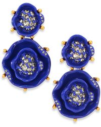 Oscar de la Renta Rose Clip-On Drop Earrings - Lyst