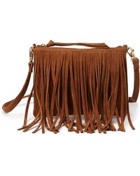 Forever 21 Faux Suede Fringed Crossbody - Lyst