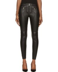 Givenchy Black Leather Gold Zip Skinny Trousers - Lyst