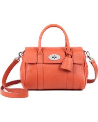 Mulberry Bayswater Small Natural Leather Satchel Orange - Lyst
