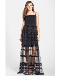 Vera Wang Illusion Stripe Tulle Skirt Gown black - Lyst
