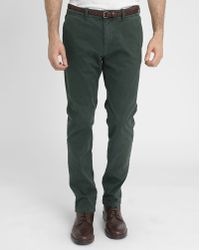 Scotch & Soda | Bottle Green Built-in Belt Faded Cotton Chinos | Lyst