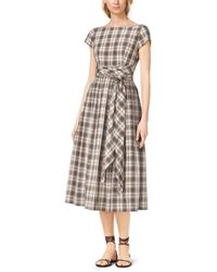 Michael Kors Madras Silk And Cotton Tie-Waist Dress - Lyst