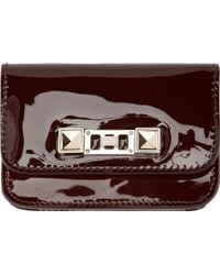 Proenza Schouler Burgundy Patent Leather Card Case - Lyst