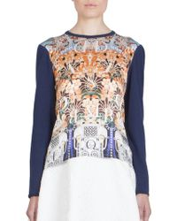 Mary Katrantzou Printed Silk-Front Sweater - Lyst