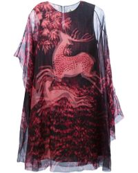 Lanvin Deer-Print Sheer Dress - Lyst