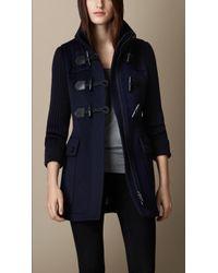Burberry Contrast Knit Detail Duffle Coat - Lyst