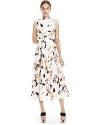 Lela Rose   Stamped Metallic Floral Poplin Belted Maxi Dress   Lyst