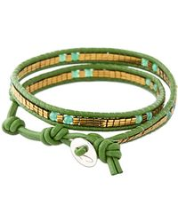 Colana - Leather Wrap Bracelet With Jade - Lyst