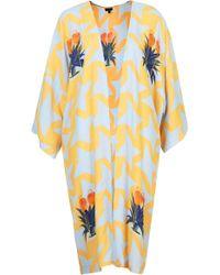 Topshop Geo Bird Print Longline Kimono in Sky Blue - Lyst