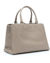 Bottega Veneta New Sand Intrecciato Leather 'Milano' Tote - Lyst