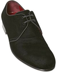Dolce & Gabbana Milano Velvet Derby Lace Up Shoes - Lyst