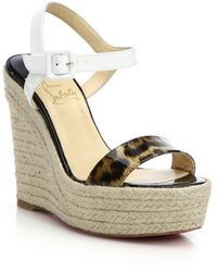Christian Louboutin Spachica Leopard-Print Patent Leather Espadrille-Wedge Sandals - Lyst