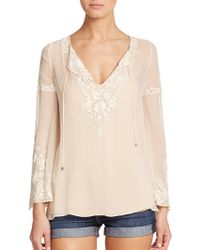 Haute Hippie Embroidered Silk Peasant Blouse pink - Lyst
