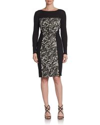 Kay Unger Jacquard Inset Sheath Dress - Lyst