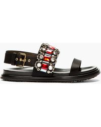 Marni Black Jewel and Satin Fussbett Sandals - Lyst
