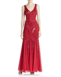 Adrianna Papell | Beaded Open-back Godet Gown | Lyst