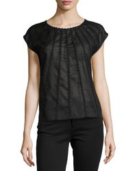 Halston Heritage Cap-Sleeve Voile Embroidered Top - Lyst
