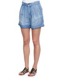 Splendid Wilder Denim Pleated Cuffed Shorts - Lyst