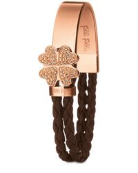 Folli Follie Rose Gold-Plated Crystal Bonding Bracelet - Lyst