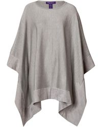 Ralph Lauren Collection Silk Poncho with Suede Trim - Lyst