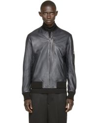 A. Sauvage | Navy Leather Bomber Jacket | Lyst