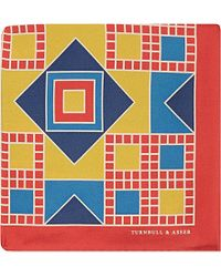 Turnbull & Asser Geometric Silk Pocket Square - For Men red - Lyst