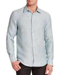Armani Regular-Fit Textured Linen Sportshirt blue - Lyst