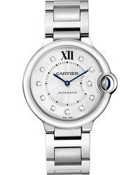 Cartier Ballon Bleu De Steel And Diamond Watch - For Women silver - Lyst