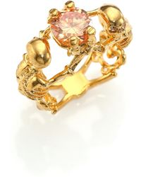 Alexander McQueen Two Skeletons Crystal Cocktail Ring gold - Lyst
