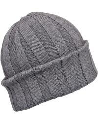 John Smedley - Grey Hindburn Merino Knit Beanie Hat - Lyst