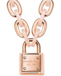 Michael Kors Two-Tone Padlock Charm Necklace - Lyst