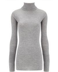 Edun Grey Merino Wool Ribbed Turtleneck - Lyst