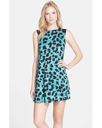 French Connection Leopard Print Jersey Popover Dress - Lyst
