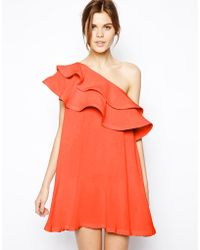 Asos Swing Dress with Asymmetric Frill - Lyst
